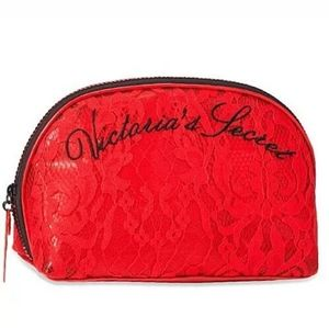 Victorias secret red lace make up bag